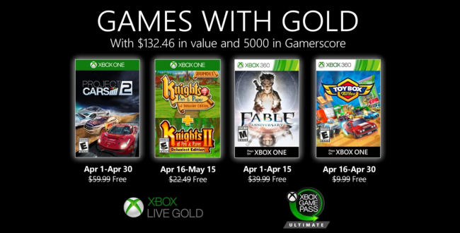 Hier sind die Games for Gold im April 2020