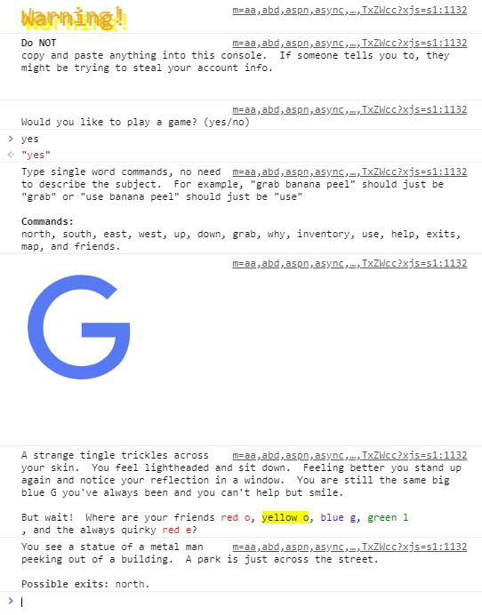 Text-Adventure in Suchmaschine Google com versteckt