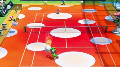 Mario Tennis: Ultra Smash - Gameplay - Mega-Ballwechsel mit Yoshi vs. Toad